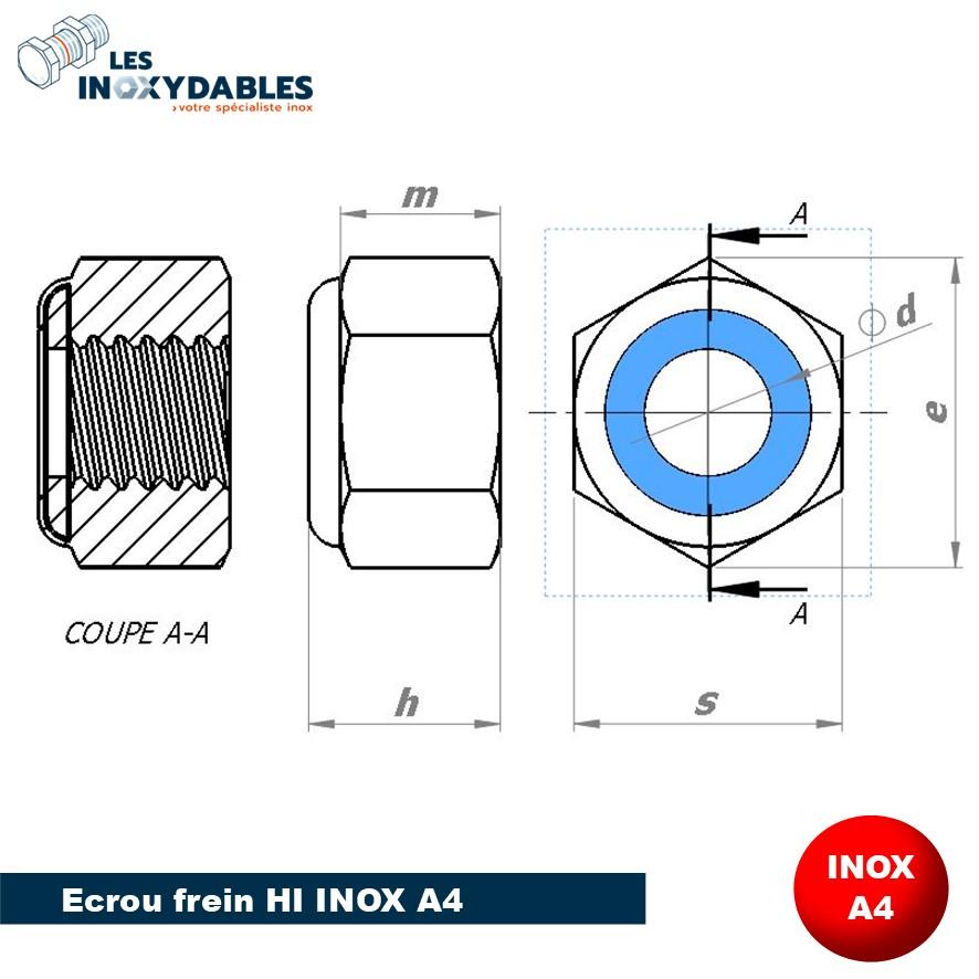 Dimensions écrou Inox A2 A4 HI