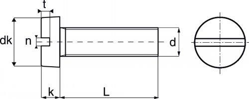 Schéma vis nylon tête cylindrique Large