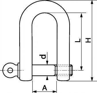 Schéma manille droite Inox A4 Marine