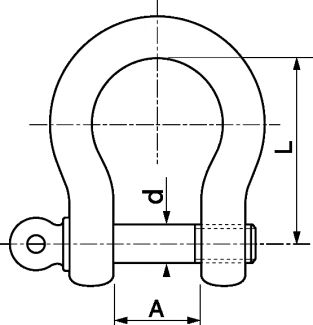 Dimensions de la manille lyre Inox A4