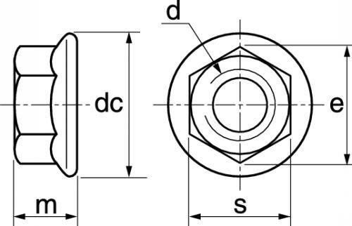 schema ecrou à embase crantee en Inox A4-80