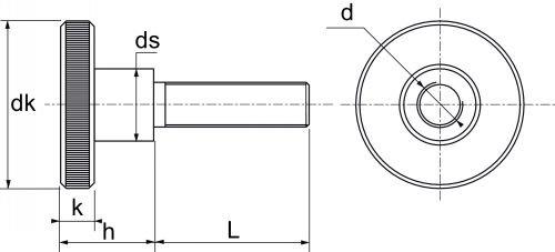 schéma de la vis moletee Inox  DIN 464